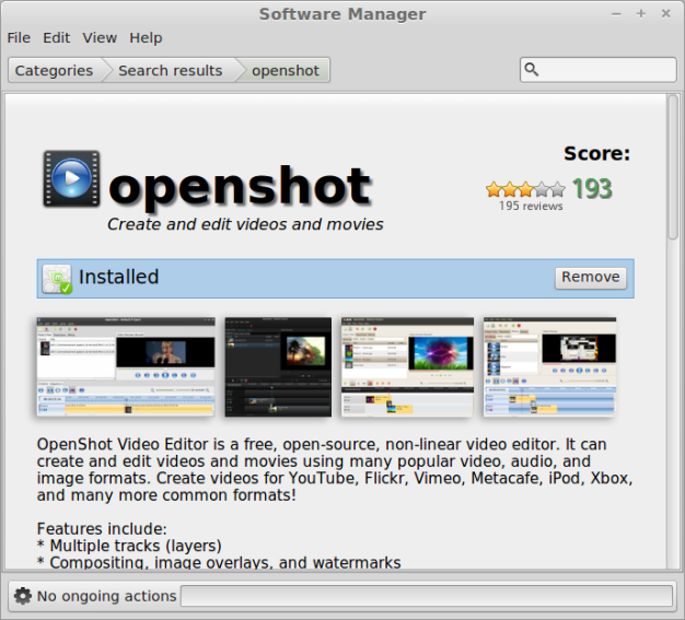 Openshot in the Software Manager