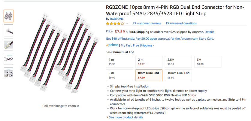 RGBZONE 8mm 4-PIN RGB Connector for LED Light Strip