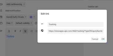 Calendar Tracking Edit Link