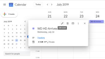 Calendar Tracking Event