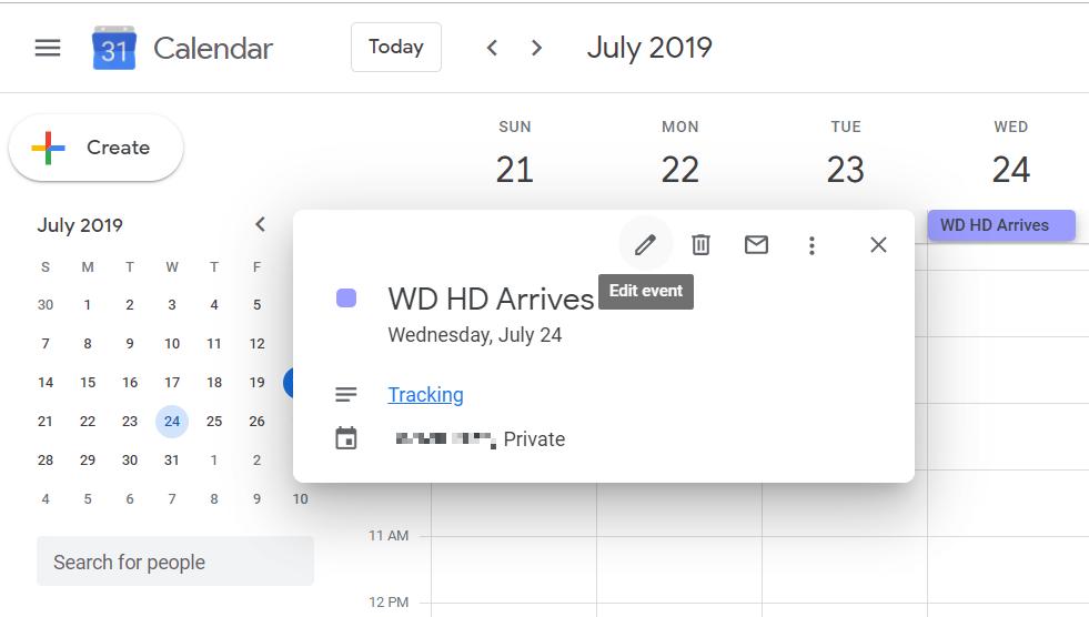 Google Calendar – Add TrackingLink
