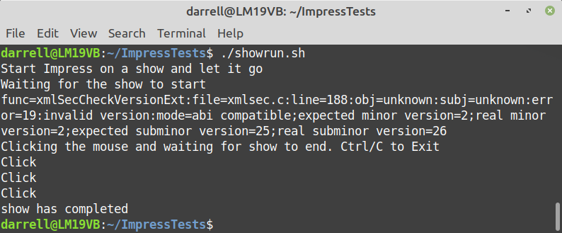 Impress Show Runner Trivial on Linux