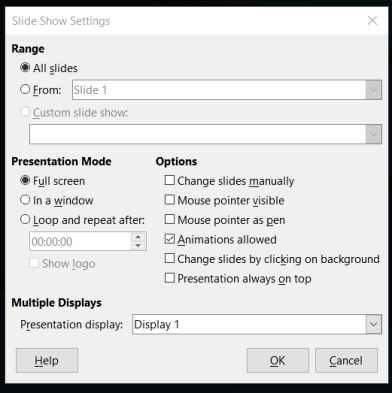 SlideShow Settings