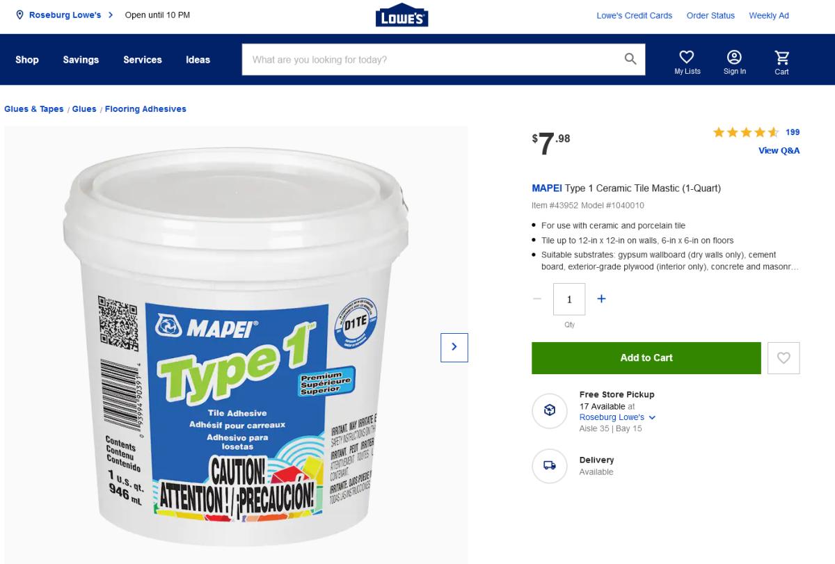 Lowe's Online ShoppingExample